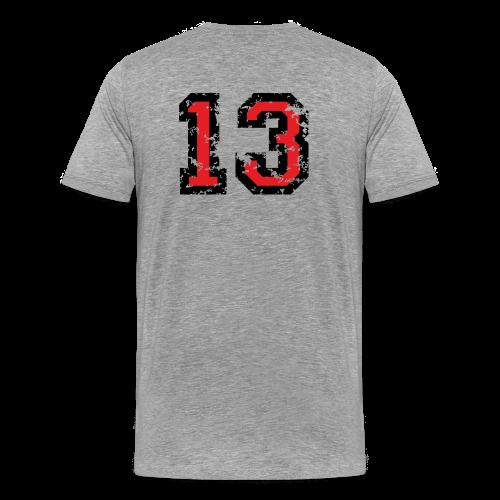 Rückennummer 13 T-Shirt (Herren Grau) - Männer Premium T-Shirt