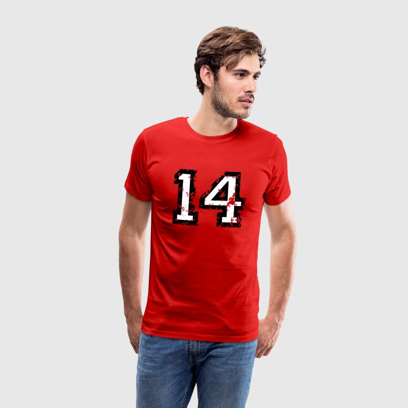 The Number Fourteen - No. 14 (two-color) white T-Shirts - Men's Premium T-Shirt