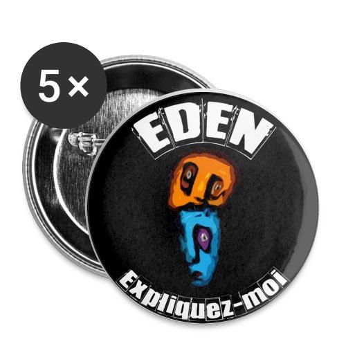 BADGE NOIR - DEUX TETES- EXPLIQUEZ-moi - Badge moyen 32 mm