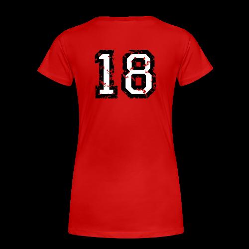 Rückennummer 18 T-Shirt (Damen Rot) - Frauen Premium T-Shirt