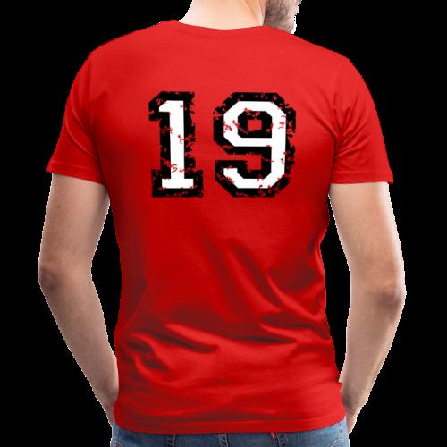 Rückennummer 19 T-Shirt (Herren Rot) - Männer Premium T-Shirt