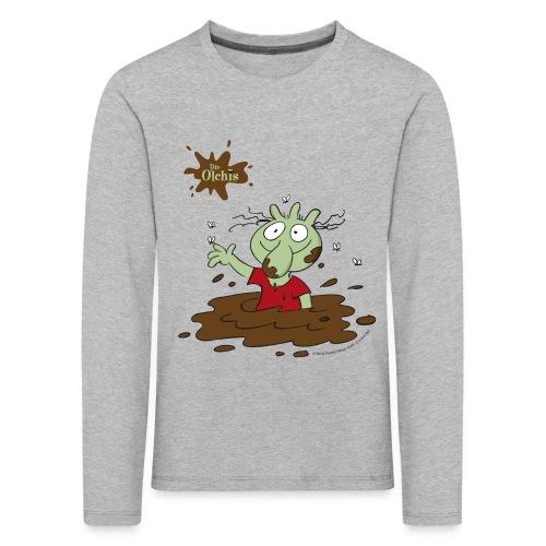 Kinder Premium Langarmshirt - Ein offizielles Olchi - T-Shirt. Die Olchis vom Oetinger Verlag. Weitere tolle T-Shirts, Langarmshirts und Pullover von den Olchis aus Schmuddelfing und ihrem Drachen Feuerstuhl findet ihr im Olchis T-Shirt-Shop.