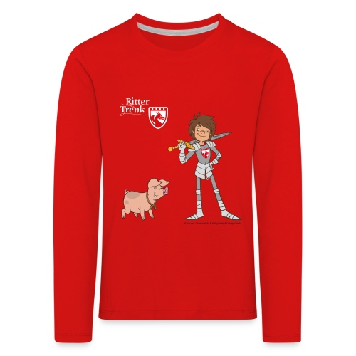 Kinder Premium Langarmshirt - Ein offizielles Ritter Trenk Fanprodukt vom Oetinger Verlag. Viele weitere tolle T-Shirts, Langarmshirts und Pullover von Ritter Trenk Tausendschlag, Ferkelchen, Thekla und ihren Abenteuern auf Burg Hohenlob findet ihr im Ritter Trenk Fanshop.