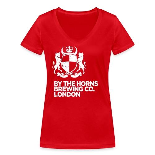 BTH Logo, White on Red - Women's - Women's Organic V-Neck T-Shirt by Stanley & Stella