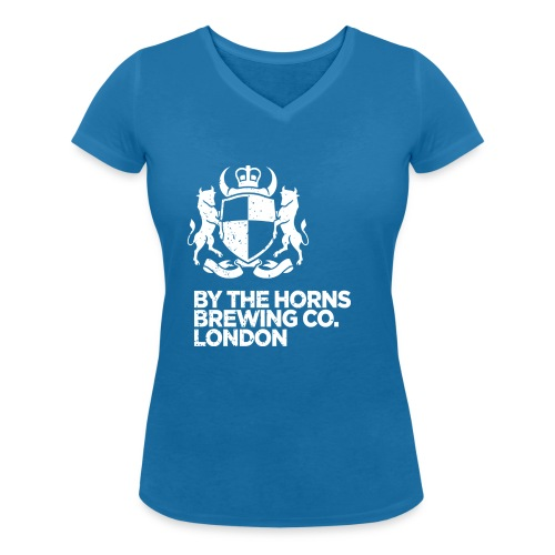 BTH Logo, White on Blue - Women's - Women's Organic V-Neck T-Shirt by Stanley & Stella