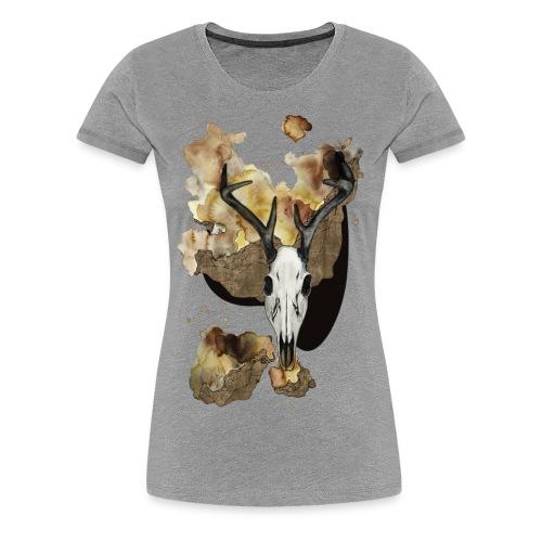 Hirsch Schädel Aquarell auf kurzarm Shirt von carographic, Carolyn Mielke - Frauen Premium T-Shirt