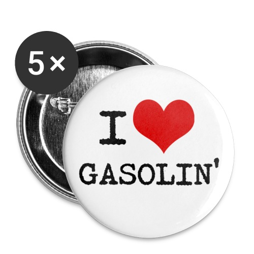 I LOVE GASOLIN-Badges, 5 stk. (kr. 19,-/stk.)  - Buttons/Badges mellemstor, 32 mm