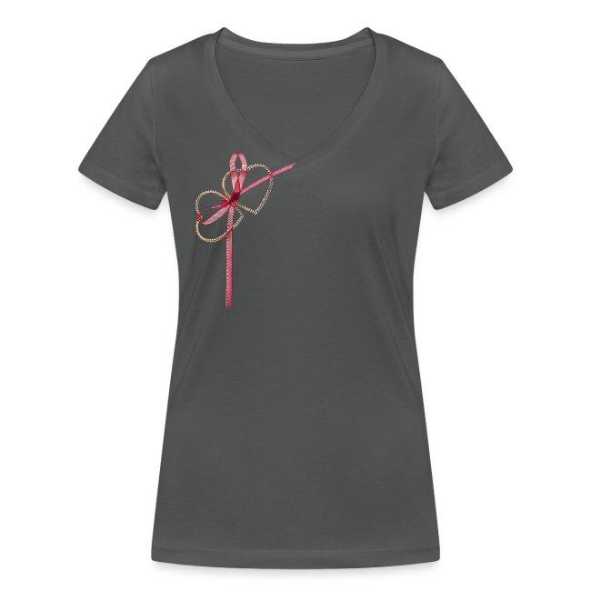 Frauen  T-Shirt  kurzarmig , mit Zwei herzen und romantische Schleife sportliches