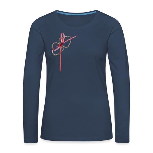 Zwei herzen und romantische Schleife sportliches Frauen  T-Shirt  - Frauen Premium Langarmshirt