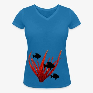 Poissons et corail - Women's Organic V-Neck T-Shirt by Stanley & Stella