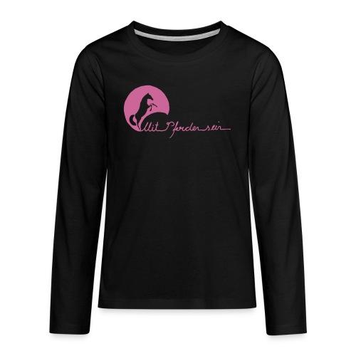 MPS Schriftzug + Energy - Pink Glitter Teens (Front- and Backprint) - Teenager Premium Langarmshirt