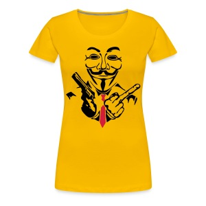 Anonymous doigt fuck et flingue - T-shirt Premium Femme