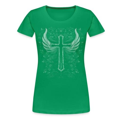 T-shirt mit Kreuz, Wings & Verzierung - Frauen Premium T-Shirt