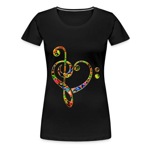 Clé de sol et clé de fa formant un coeur - T-shirt Premium Femme