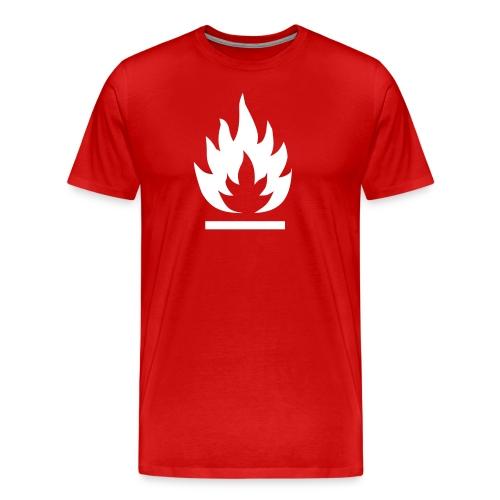 Syttyvä, valkoinen merkki - Miesten premium t-paita