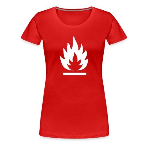 Syttyvä, valkoinen merkki - Naisten premium t-paita