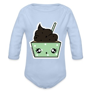 Body manches longues Cupcake choco-menthe - Body bébé bio manches longues