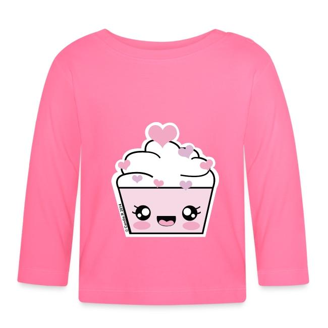 T shirt bébé manches longues Cupcake Coeurs