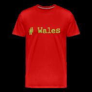 T-Shirts ~ Men's Premium T-Shirt ~ 'Hash tag' Wales