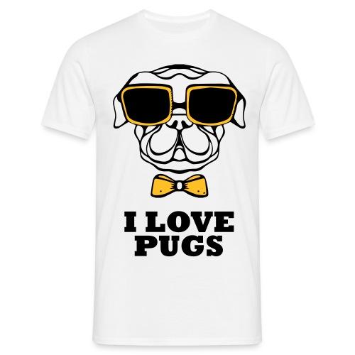 I Love pugs - T-shirt herr
