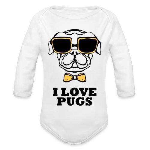 I Love pugs - Ekologisk långärmad babybody