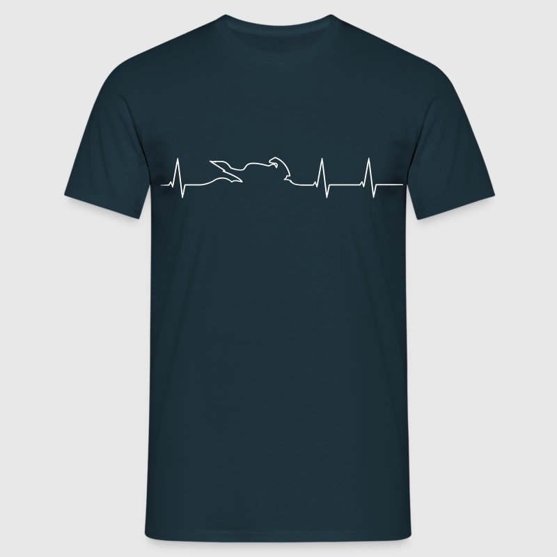 Motorcycle Biker heartbeat  T-Shirts - Men's T-Shirt