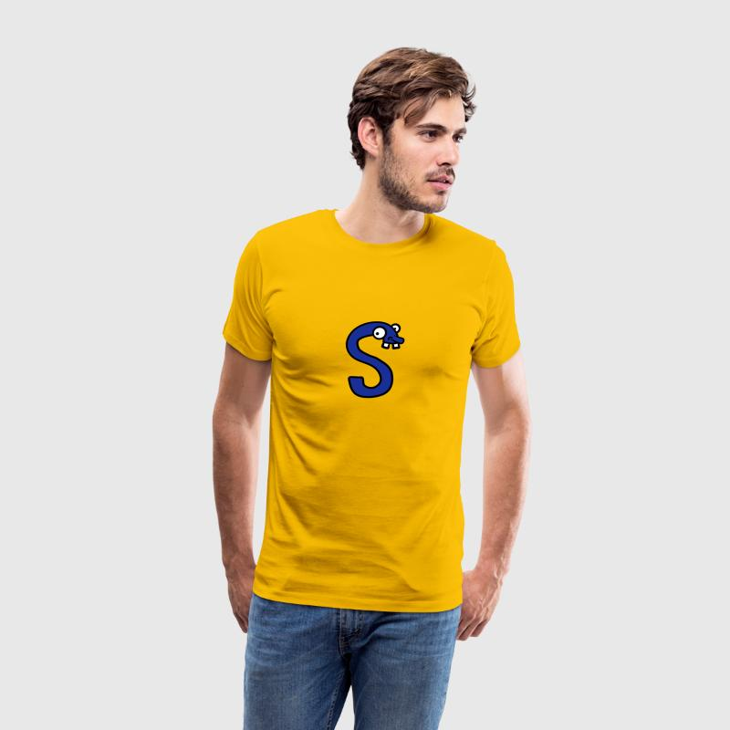 Letter S funny face cheeky Monster T-Shirts - Men's Premium T-Shirt