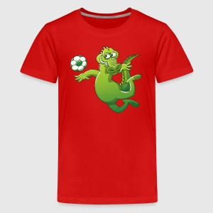 Crocodile Heading a Foot Ball Shirts - Teenage Premium T-Shirt