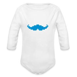 Moustache pixel - Body bébé bio manches longues