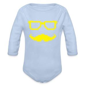 Moustache et lunettes pixel geek - Body bébé bio manches longues