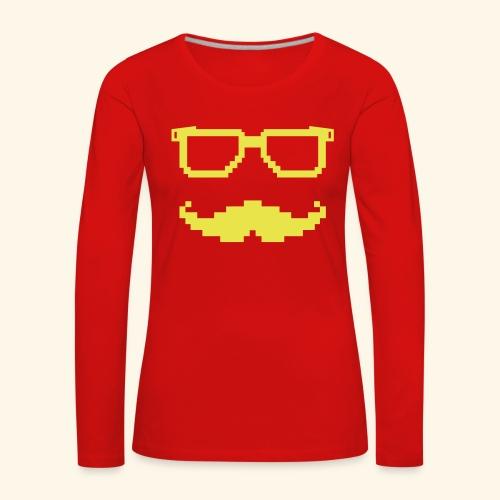 Moustache et lunettes pixel geek - T-shirt manches longues Premium Femme