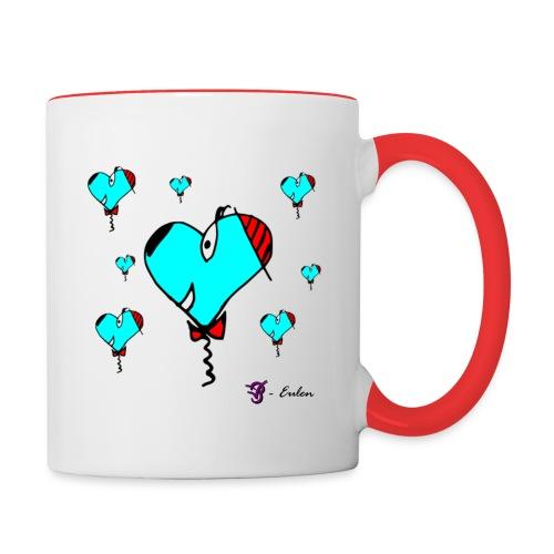 Hunde-Herzen Tasse - Tasse zweifarbig
