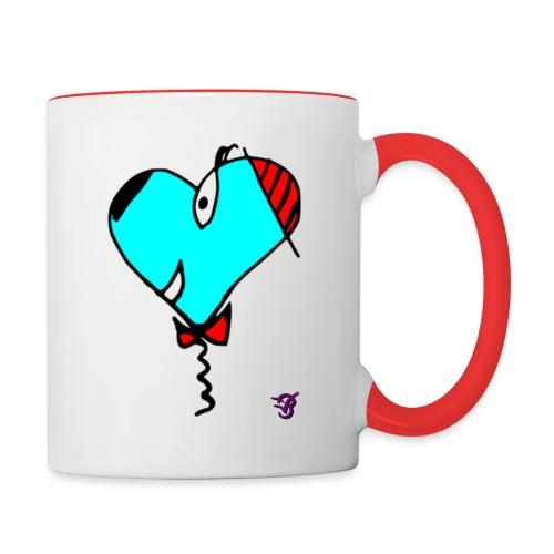 Hunde-Herz Tasse - Tasse zweifarbig