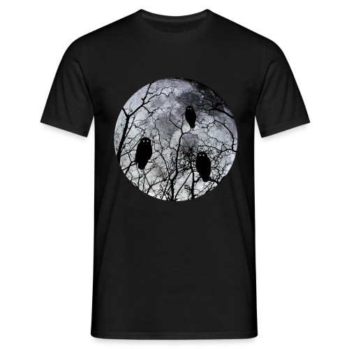 Owls with a bloodred moon  zwart - Mannen T-shirt
