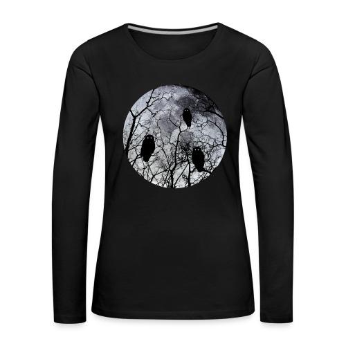 Owls with a bloodred moon  zwart - Vrouwen Premium shirt met lange mouwen