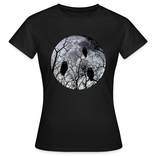 Owls with a bloodred moon  zwart - Vrouwen T-shirt