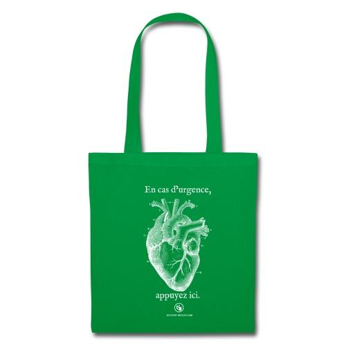 Sac tissu vert coeur - Tote Bag