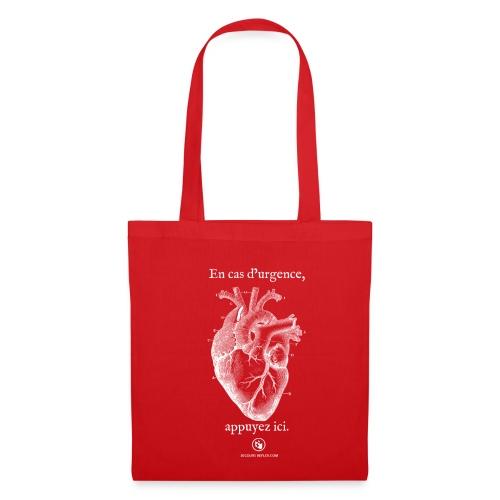 Sac tissu rouge coeur - Tote Bag