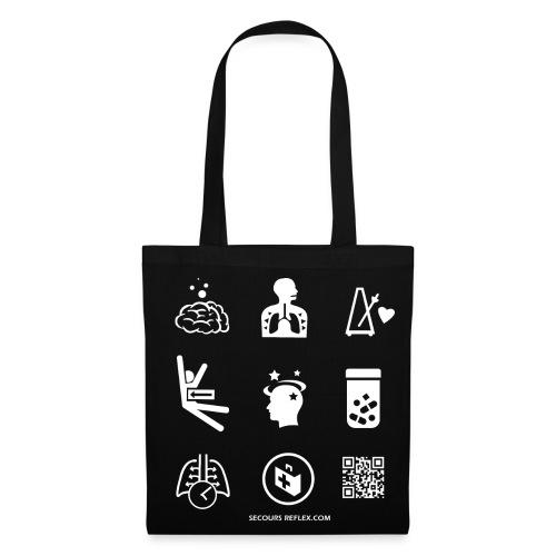 Sac tissu noir picto - Tote Bag