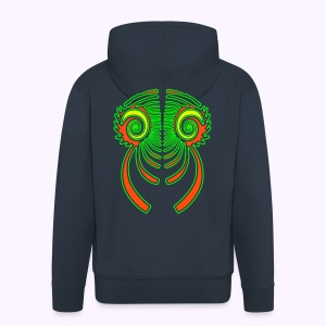 Fractal Dragon 3 Color Men;s Hooded Jacket - Miesten premium vetoketjullinen huppari