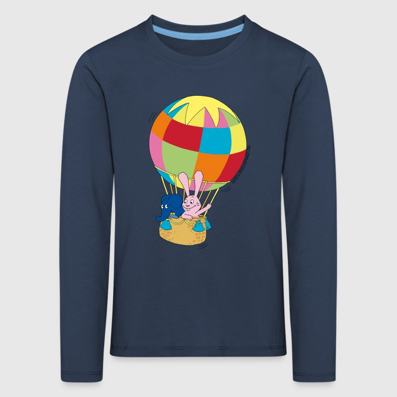 elefant und hase ballon fahren langarmshirt spreadshirt. Black Bedroom Furniture Sets. Home Design Ideas