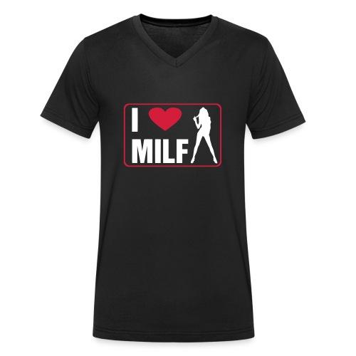 I Love Milf - T-shirt ecologica da uomo con scollo a V di Stanley & Stella
