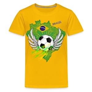Fußball T-shirt Kid´s mit Brasilien Kontur - Teenager Premium T-Shirt