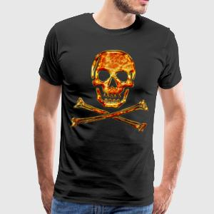Skull, Fire, pirate, digital, crystal skulls, fire, flame, pirates flag Hoodies & Sweatshirts - Men's Premium T-Shirt