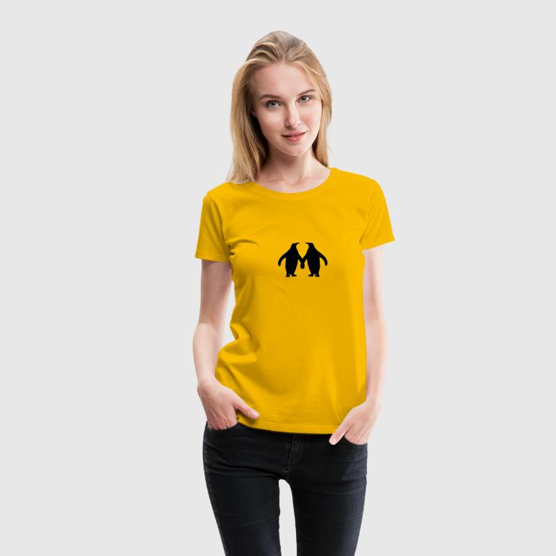 Love couple silhouette in love 2 penguins T-Shirts - Women's Premium T-Shirt