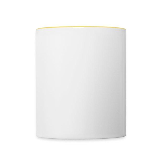 Tasse weiß/gelb zweiseitig Seiten