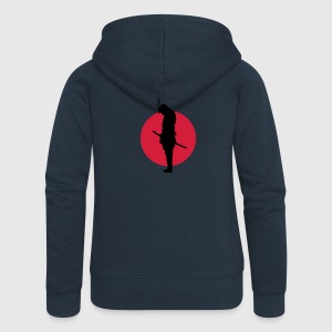 Japan Samurai Warrior (Japan flag) Hoodies & Sweatshirts - Women's Premium Hooded Jacket