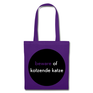 stofftasche, beware of kotzende katze, lila - Stoffbeutel