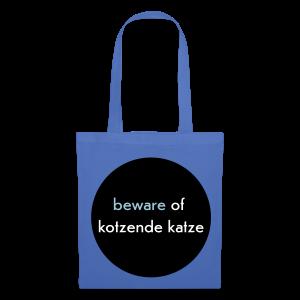 stofftasche, beware of kotzende katze, hellblau - Stoffbeutel