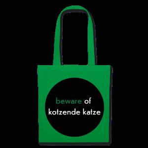 stofftasche, beware of kotzende katze, grün - Stoffbeutel